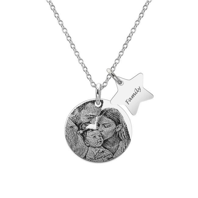 Colier Argint 925 banut 17 mm - luna si stea personalizat gravura foto
