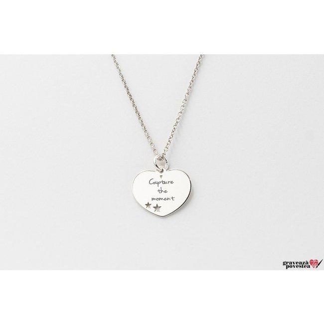 Colier Argint 925 inima 15 mm cu steluțe decupate personalizata gravura text