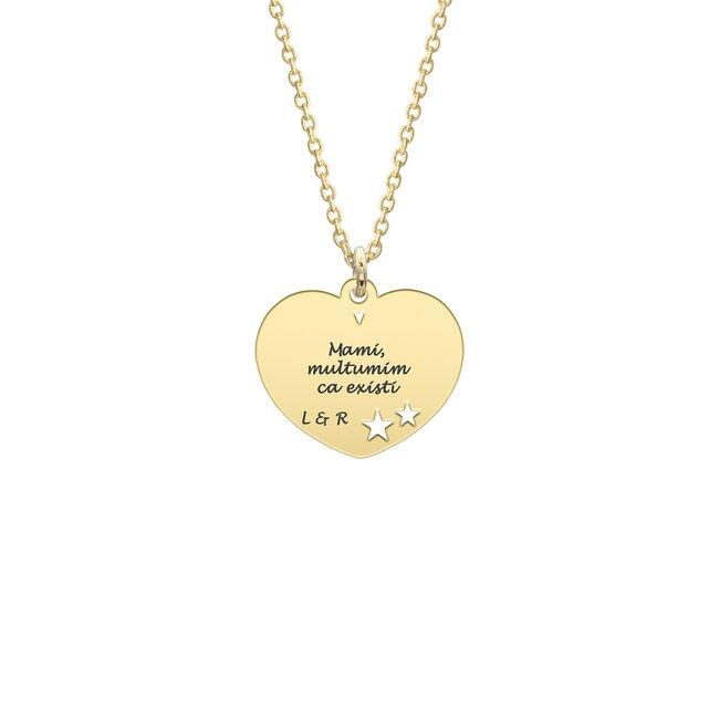 Colier luna femeii Argint 925 inima cu steluțe decupate (15 mm)