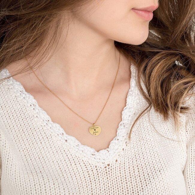 Colier Argint dama, inima cu steluțe decupate, personalizat (15 mm)