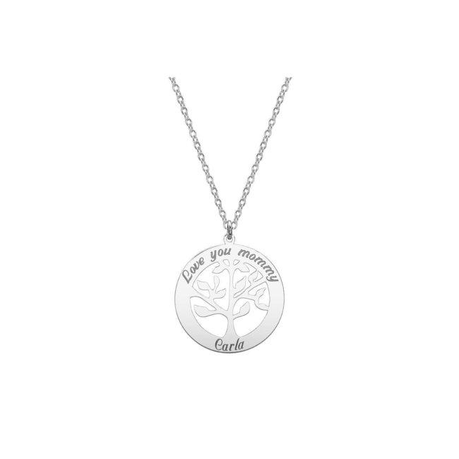 Colier Argint 925 copacul vietii 28 mm personalizat gravura text