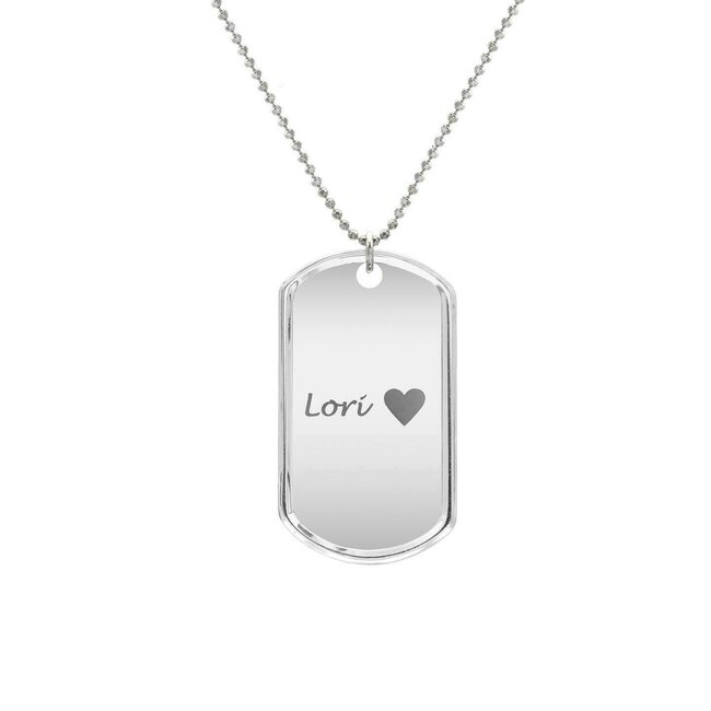 Colier placuta clasica Army 50 mm personalizata gravura text Argint 925 rodiat (lant Beads)