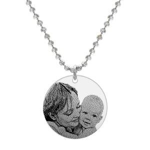 Colier Argint barbat, banut 22 mm, personalizat gravura foto (lant Beads)