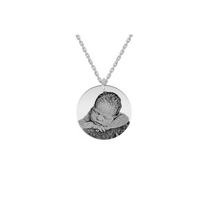 Colier Argint barbat, banut 22 mm, personalizat gravura foto (lant Cable)