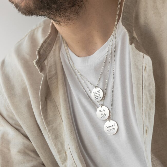 Colier banut 22 mm personalizat gravura text Argint 925 rodiat (lant Beads)