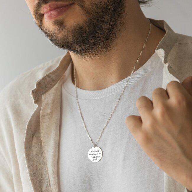 Colier Argint barbat, banut 22 mm, personalizat gravura text (lant Cable)