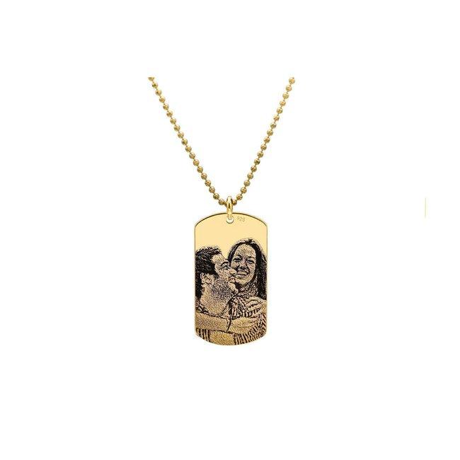 Colier placuta Army 28 mm personalizata gravura foto Argint 925 placat cu aur (lant Beads)