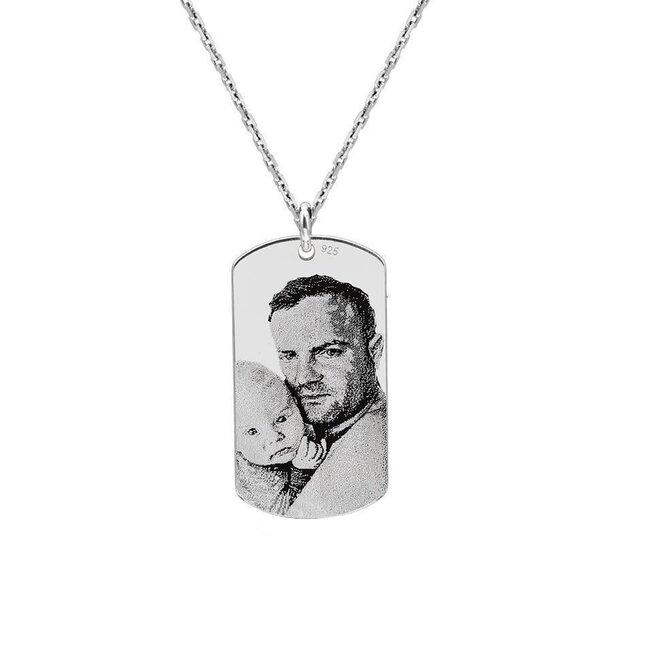 Colier Argint barbat, placuta Army 28 mm, personalizata gravura foto (lant Cable)