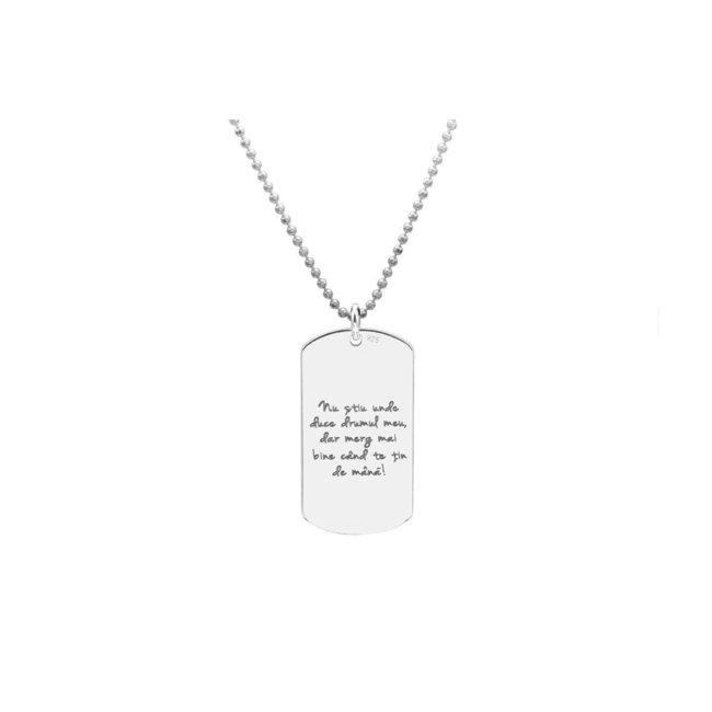 Colier Argint 925 placuta Army 28 mm personalizata gravura text (lant Beads)
