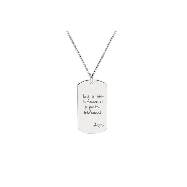 Colier placuta Army 28 mm personalizata gravura text Argint 925 (lant Cable)