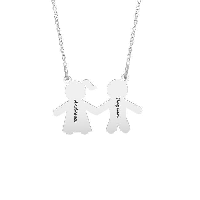 Colier Argint, tatic si mamica, personalizat (16mm)