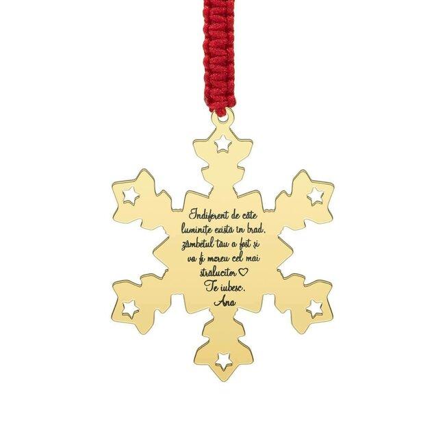 Decoratiune brad fulg de nea 47 mm personalizat gravura text Argint 925 placat cu aur galben 24K