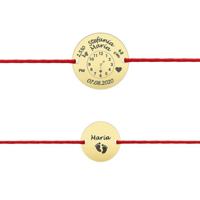 Bratari snur mama si copil banuti 15 mm/ 10 mm personalizate gravura foto Aur 14K (ceasul bebelusului)