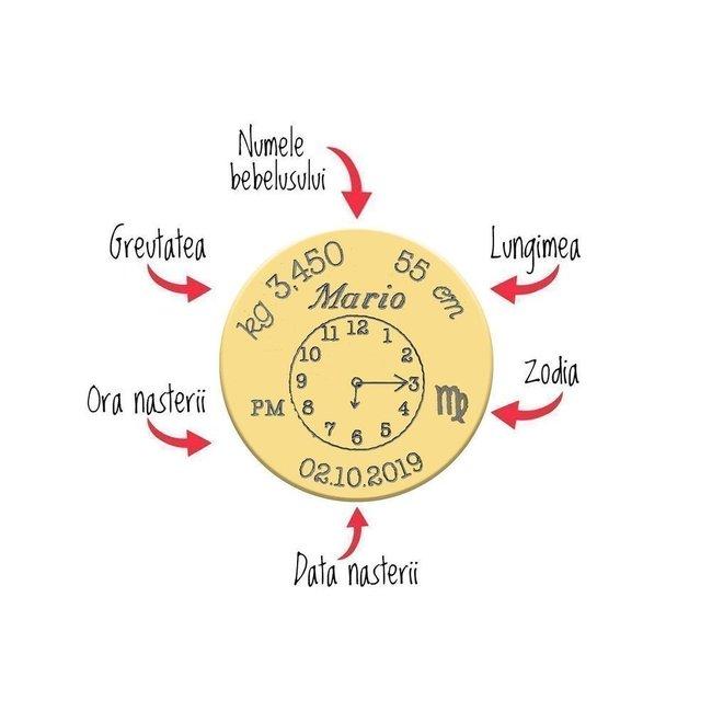 Bratari snur impletit si bilute mama si copil banuti 17 mm/ 10 mm personalizate gravura foto Argint 925 rodiat (ceasul bebelusului)