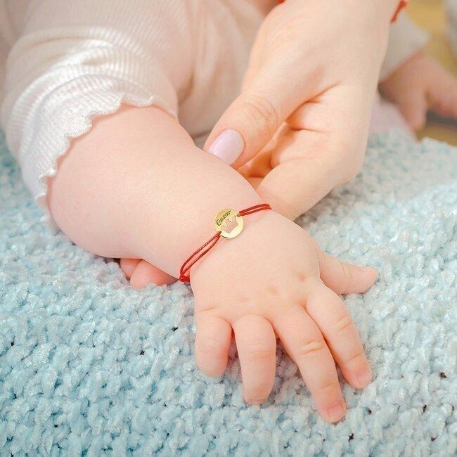 Bratara snur bebe si copil banut coronita 10 mm personalizata gravura text Aur 14K