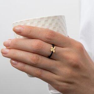 Inel Aur 14K, fluture personalizat initiala, snur reglabil (8 mm)