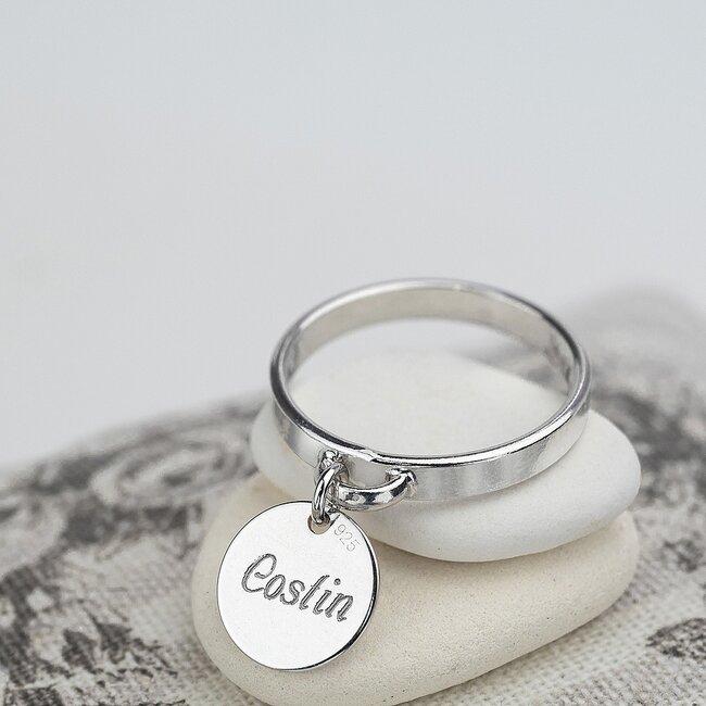 Inel charm banut 10 mm personalizat gravura text Argint 925 Premium