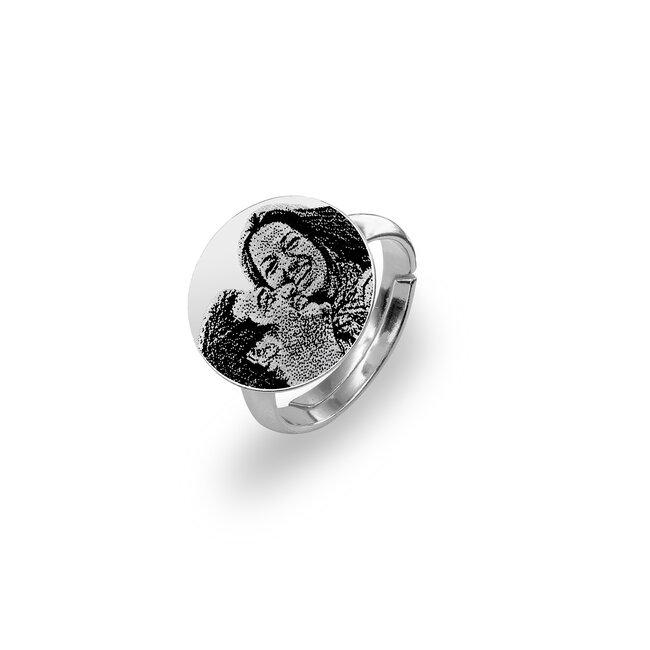 Inel Argint 925 banut personalizat gravura foto (15 mm)
