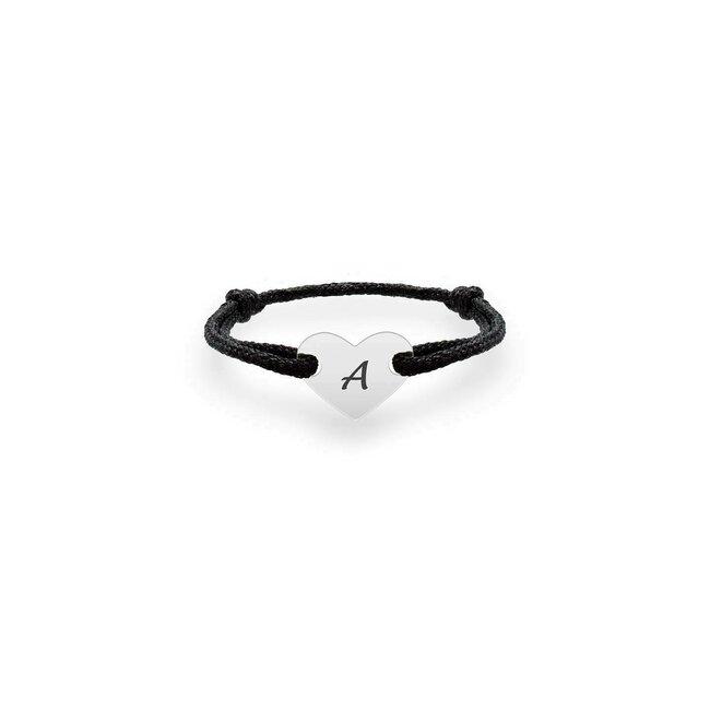 Inel snur Aur, reglabil si inimioara, personalizat gravura initiala (7 mm)