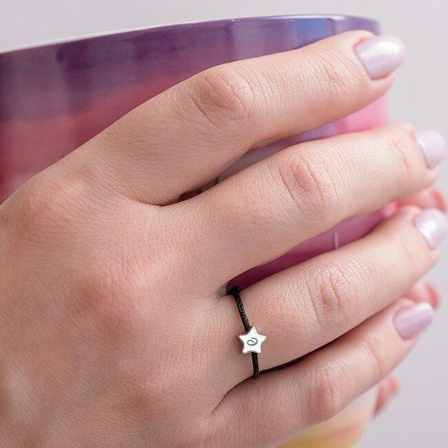 Inel snur reglabil steluta 5 mm personalizata gravura initiala Argint 925 Premium