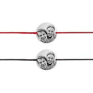 Bratari cuplu argint banuti personalizati foto cu snur (17 mm)