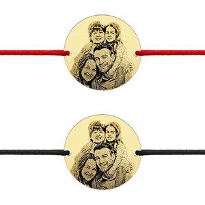 Bratari cuplu argint banuti personalizati foto cu snur (19 mm)