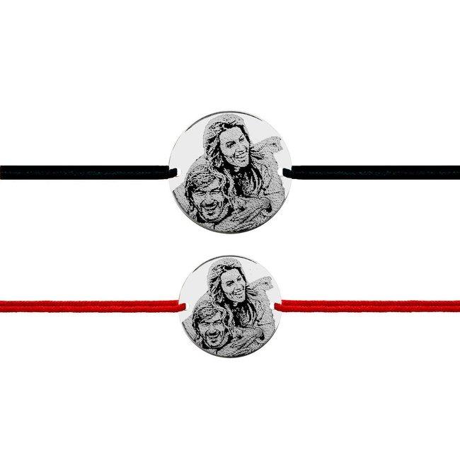 Bratari snur cuplu banut 22 mm & 17 mm personalizate gravura foto Argint 925 rodiat