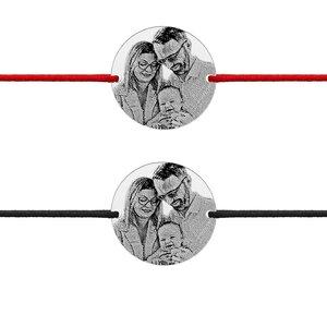Bratari cuplu argint banuti personalizati foto cu snur gros (22 mm)
