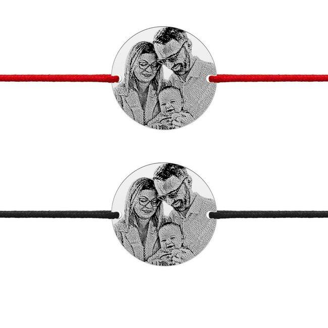 Bratari snur gros cuplu banut 22 mm personalizate gravura foto Argint 925 rodiat