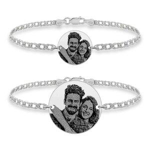 Bratari cuplu argint banuti personalizati foto cu lant Curbed (17 & 22 mm)