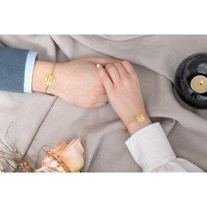 Bratari cuplu argint banuti personalizati cu lant curbed & subtire (17 & 22 mm)