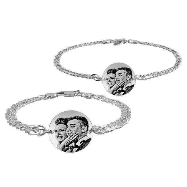 Bratari lant cuplu banut 22 &17 mm personalizate gravura foto Argint 925 rodiat (lant curbed XL & curbed)