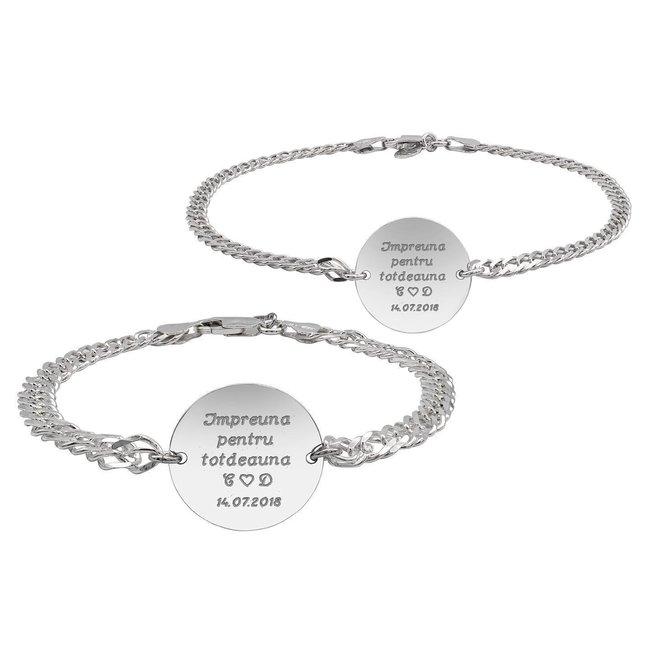Bratari lant cuplu banut 22 & 17 mm personalizate gravura text Argint 925 rodiat (lant curbed XL & curbed)