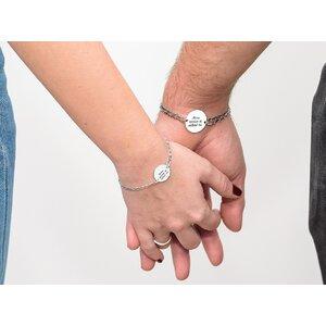 Bratari cuplu argint banuti personalizati cu lant curbed XL & curbed (17 & 22 mm)