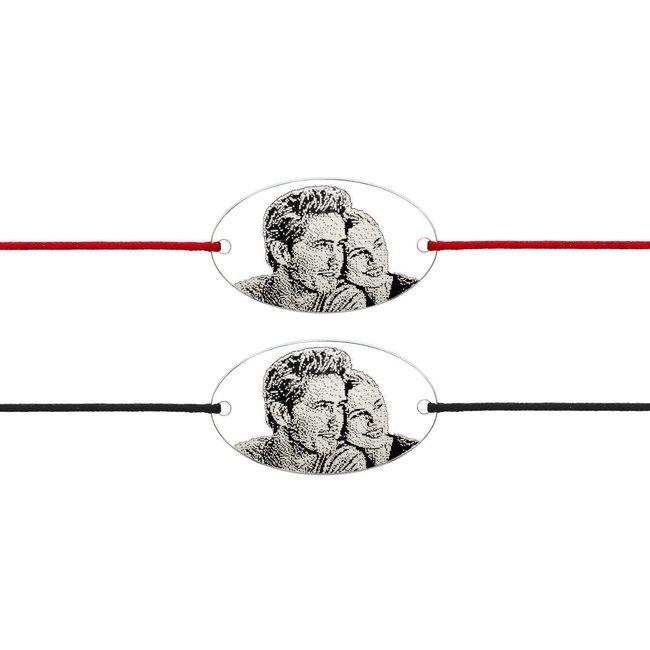 Bratari cuplu argint ovaluri personalizate foto cu snur gros (25 mm)