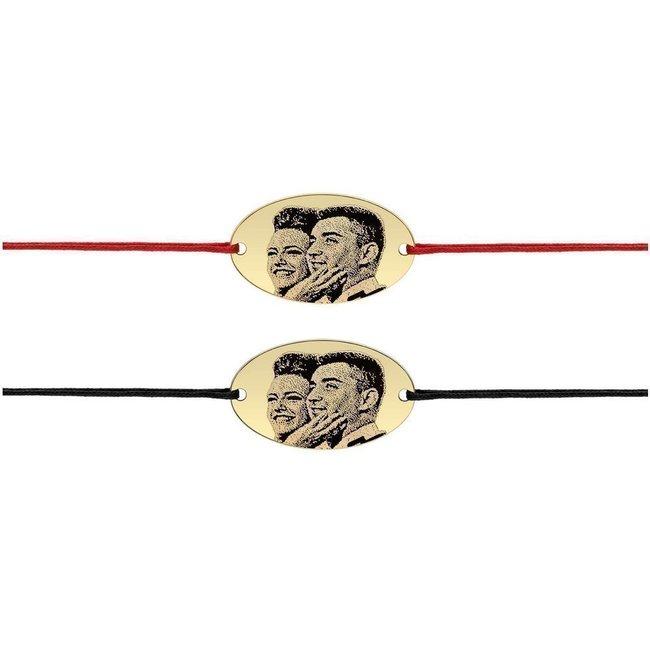 Bratari snur gros cuplu oval 25 mm personalizate gravura foto Argint 925 placat cu aur