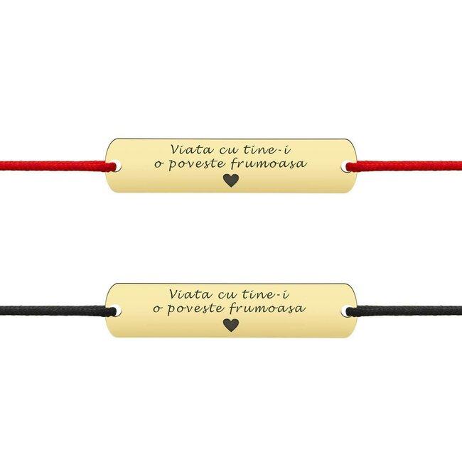 Bratari cuplu argint placute personalizate cu snur gros (33 mm)