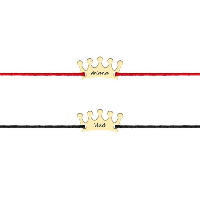 Bratari cuplu argint coroane personalizate cu snur (13 mm)