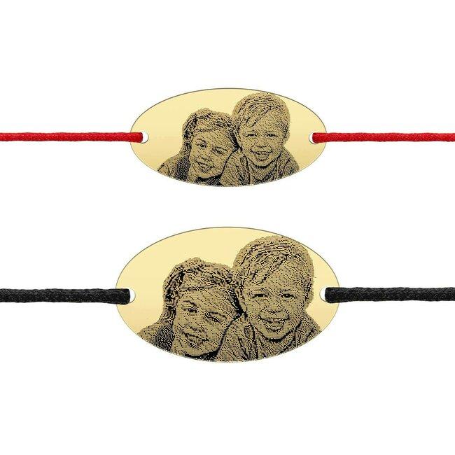 Bratari cuplu argint ovaluri personalizate foto cu snur (22 & 25 mm)
