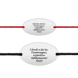Bratari cuplu argint ovaluri personalizate cu snur (22 & 25 mm)