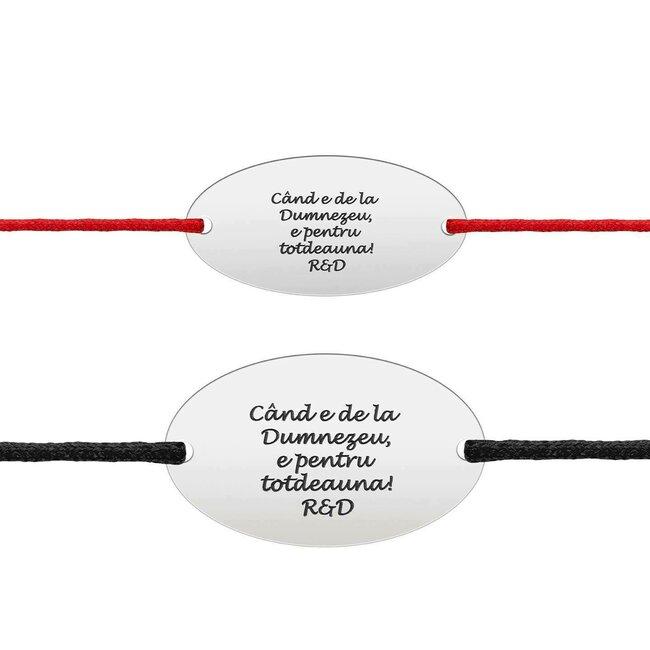 Bratari snur cuplu oval 25 mm & 22 mm personalizate gravura text Argint 925 rodiat