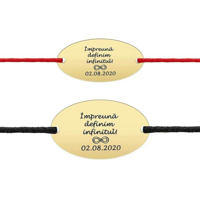 Bratari snur cuplu oval 25 mm & 22 mm personalizate gravura text Argint 925 placat cu aur