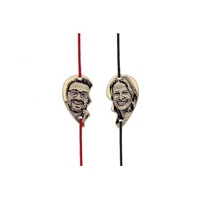 Bratari cuplu argint jumatati inima personalizate foto cu snur (21 mm)