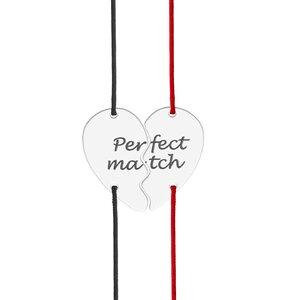 Bratari cuplu argint jumatati inima personalizate cu snur (21 mm)