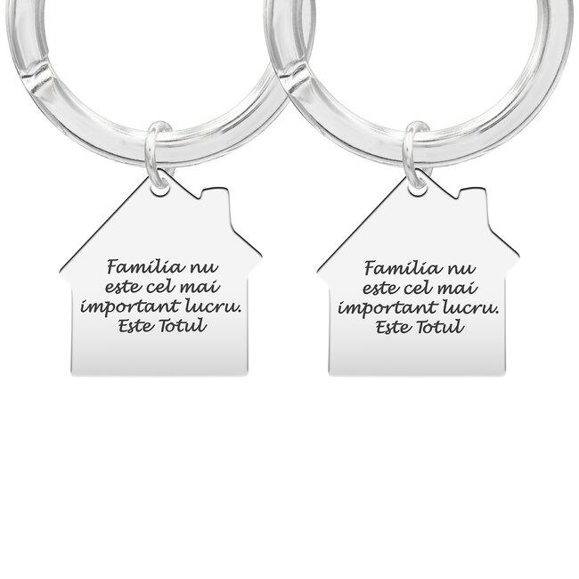 Brelocuri cuplu argint casa personalizate (30 mm)