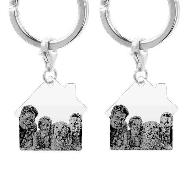 Brelocuri cuplu casa 30 mm personalizate gravura foto Argint 925 rodiat