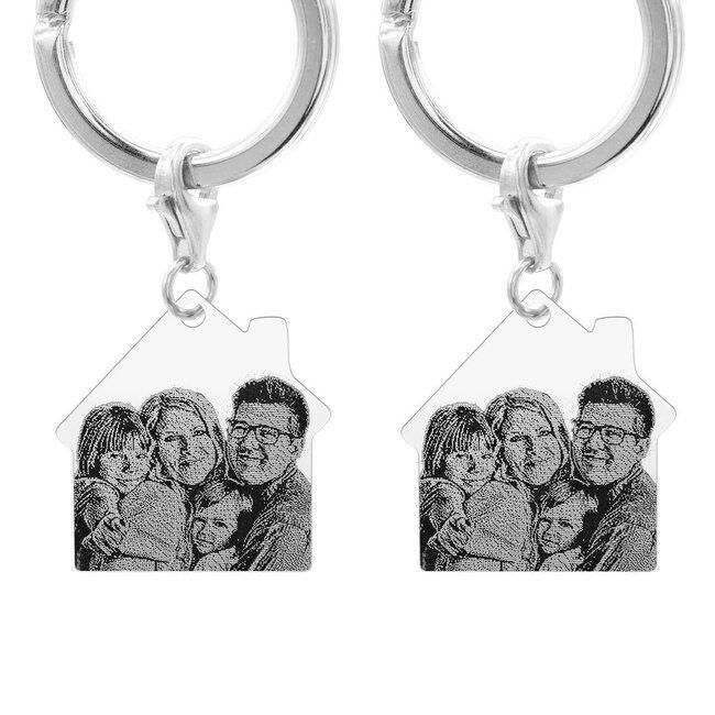 Brelocuri cuplu argint casa personalizate foto (30 mm)