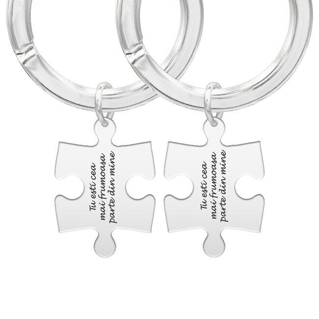 Brelocuri cuplu argint puzzle personalizate (35 mm)