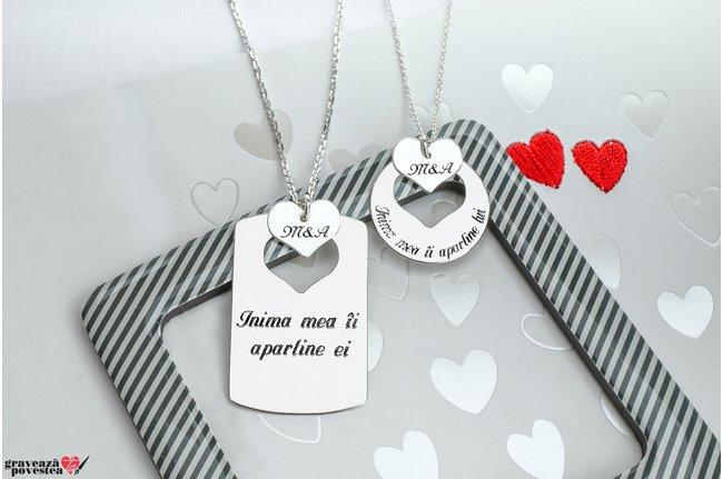 Coliere cuplu placuta si banut inimi decupate personalizate gravura text Argint 925 rodiat