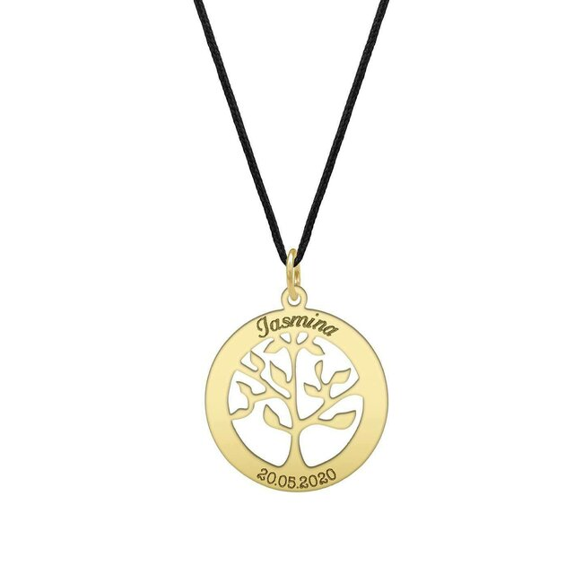 Pandantiv copacul vietii 20 mm personalizat gravura text Aur 14K
